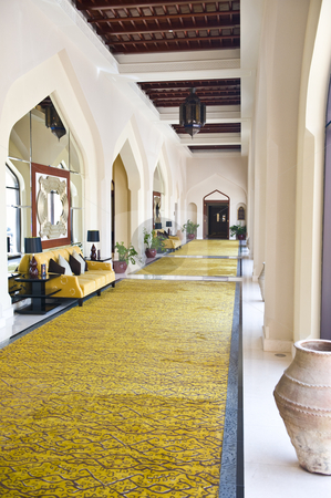 Long corridor. stock photo, A long corridor with interesting furnishing in typical Arabic style. by Nicolaas Traut