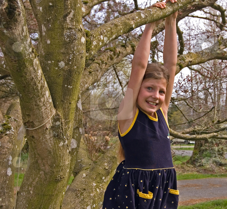 Young Girl Hanging From Tree stock photo, Pretty 8 year old girl is hanging from a tree in a navy blue dress.  She has a worried facial expression. by Valerie Garner