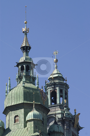 Wawel cathedral towers stock photo, A view of the towers of Wawel cathedral, Krakow, Poland by Stephen Sienczyk