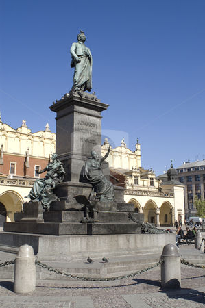 Mikiewicz monument stock photo, The Mikiewicz monument in the main square (Rynek glowny), Krakow, Poland by Stephen Sienczyk