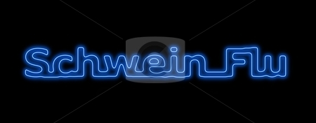 Schwein Flu Neon Blue Black stock photo, Neon sing about the schwein flu on black background by Henrik Lehnerer