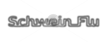 Schwein Flu Neon Black White stock photo, Neon sign about the schwein flu on white background by Henrik Lehnerer