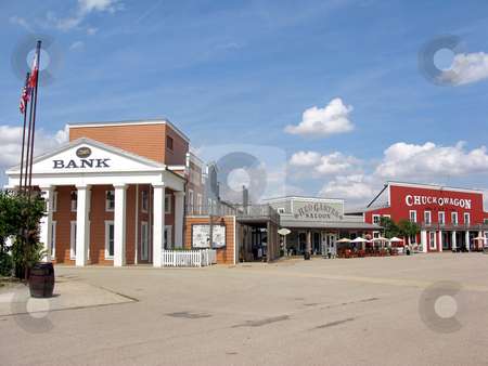 Landmarks of Cowboy Town stock photo, A deserted cowboy town, with wooden buildings. by Lucy Clark