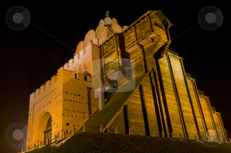 Golden gate stock photo, The Golden gate  church at night in Kiev the capital of Ukraine by Kobby Dagan
