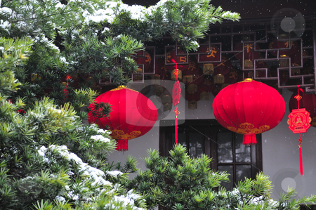 Chinese decoration stock photo, Chinese new year decoration in shanghai street by Kobby Dagan