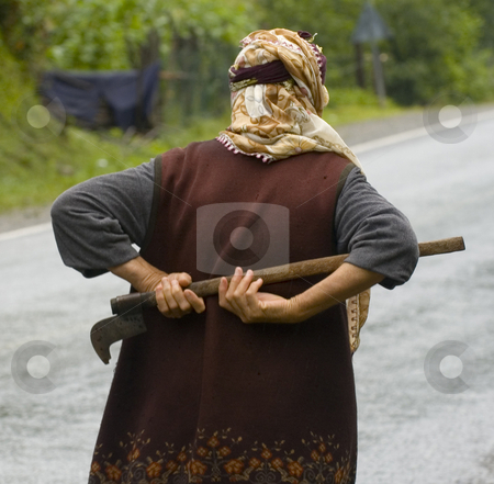 Worker stock photo, Turkish farmer women in the way to the tea plants by Kobby Dagan