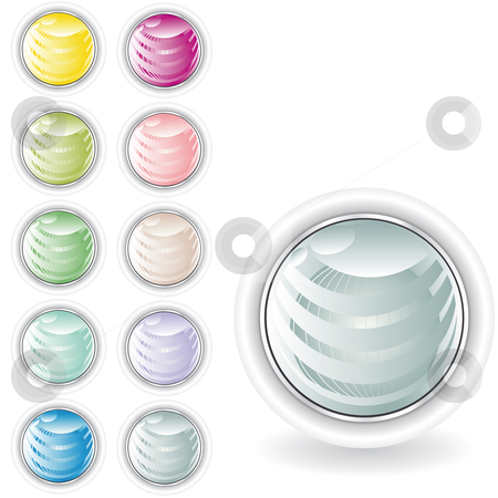 Rounded buttons in pastel tint stock vector clipart, Rounded web buttons in pastel tint with sphere inside and metal looking ring by Karin Claus