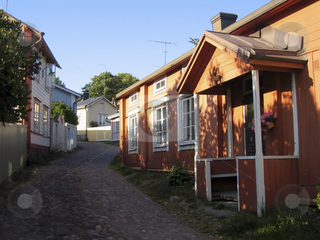 The old town of Porvoo stock photo, A narrow streets with typical wooden houses in the old town of Porvoo, Finland by Alessandro Rizzolli