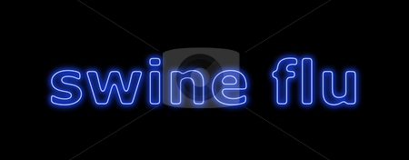 Swine Flu Blue White stock photo, Neon sign about the schwein flu on black background by Henrik Lehnerer