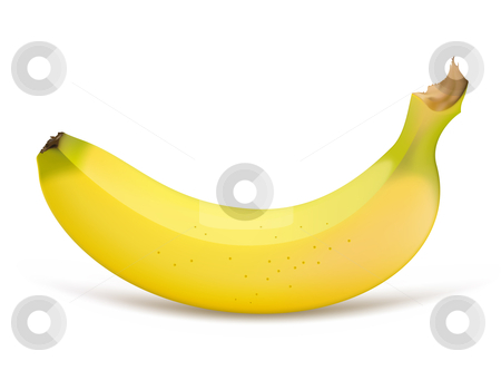 Banana stock vector clipart, Single banana isolated on a white background by Laurent Renault
