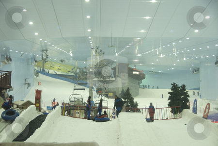 Indoor Skiiing Dubai stock photo,  by Didier Tais