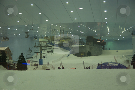 Indoor Skiing Dubai stock photo,  by Didier Tais
