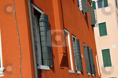 Venetian shutters stock photo, Open shutters in Venice by Jaime Pharr