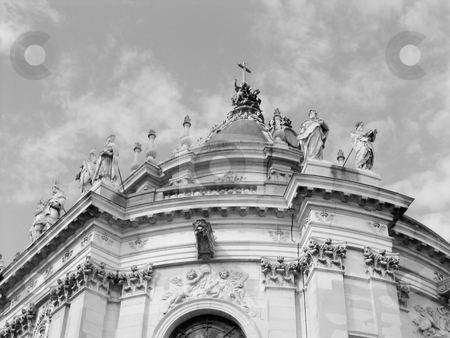 Versailles stock photo, Black and white image of part of Versailles palace with sky background by Jaime Pharr