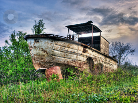 Old river boat stock photo, Old,rusty and abandoned river boat  in HDR technique by Sinisa Botas