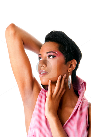 Face of a beautiful African woman stock photo, Face of a beautiful African American woman with pink makeup and rhinestones, isolated by Paul Hakimata