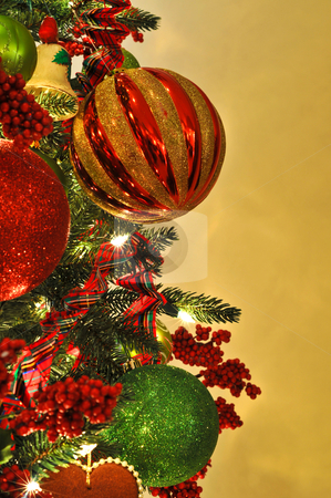 Christmas Tree Decorations stock photo, Christmas Tree Decorations. Focus on Large Red and Gold Ornament with copy space. by Mark Winfrey