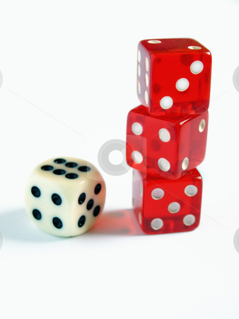 Growth of risk stock photo, Conceptual image with several dice on a clear background. by Sinisa Botas