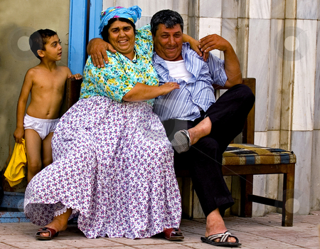 Turkish family stock photo, Turkish family in the street of Ankara by Kobby Dagan