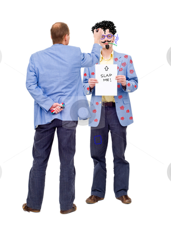 Making fun out of yourself stock photo, Conceptual image about making fun out of oneself. Can be used to illustrate self-mockery, or social issues such as bullying at work. by Corepics VOF