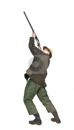Hunter stock photo, A hunter aiming a side by side shotgun wearing a hat, waxcoat, muddy rain pants and rubber boots by Corepics VOF