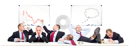Boardroom on a slow day stock photo, A conceptual representation of a board room on a slow day, with business going down due to the economic downturn, recession and financial crisis by Corepics VOF