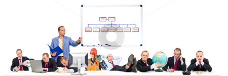 Simple Organization stock photo, A visualisation of a simple, flat, business organization, with conceptual images of the various functions present at the conference table during a board meeting of a mid-sized company by Corepics VOF