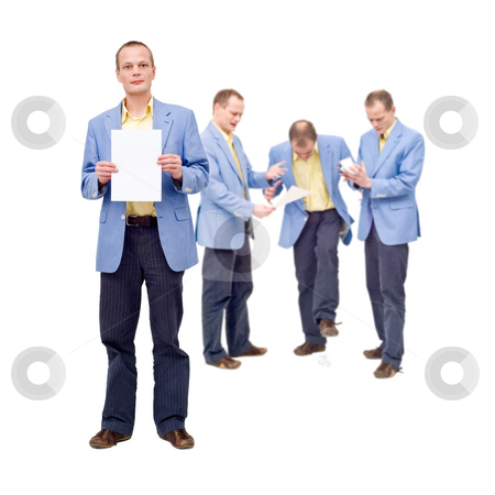 Self Critisism stock photo, A man, proudly showing his work on a sheet of paper, whereas in the back of his mind, he knows what he produced is worthless by Corepics VOF
