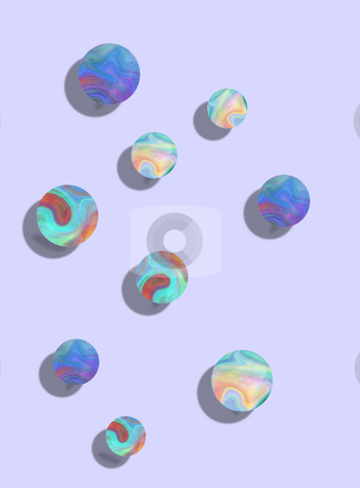 Bouncy Balls stock photo, 3D colorful bouncy balls on a powder blue background designed with a playful element in mind. by Karen Carter