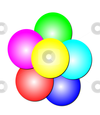 Stack of Circles stock photo, Abstract basic logo of six circles in purple, red, blue, aqua, green, and yellow in a stack. by Karen Carter