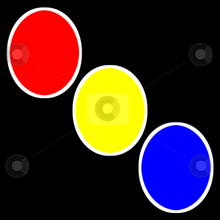 Three Circles stock photo, A basic logo of three red, yellow, and blue circles on a black background. by Karen Carter