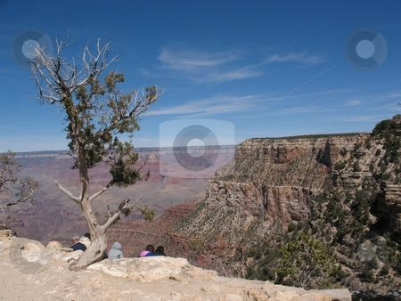 Grand Canyon, South Rim stock photo, This photo shows  the famous Grand Canyon, South Rim, on a beautifyk day in April. by Ray Carpenter