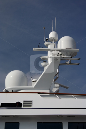 Antenna Array stock photo, Hi-tech antenna array on very upmarket motor yacht by Helen Shorey