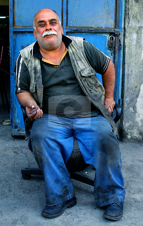 Turkish worker stock photo, Turkish worker havimg a break by Kobby Dagan