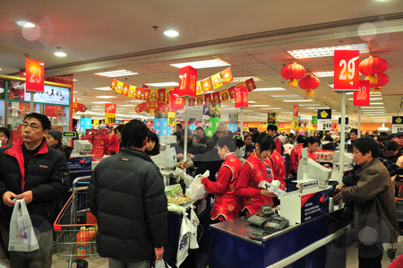 Chinese supermarket stock photo, Crowded  supermarket in shanghai before chinese new year by Kobby Dagan