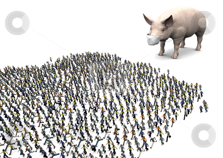 Swine Flu Panic stock photo, A CG image depicting fear of the H1N1 virus. About 1200 digital people are fleeing for their lives. by Allan Tooley