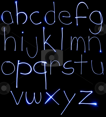 Neon Lowercase Alpabet stock photo, An alphabet set made from motion blurred light. by Travis Manley