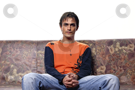 Sofa stock photo, Young casual man portrait in a sofa by Rui Vale de Sousa