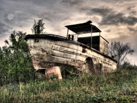 Old river boat stock photo, Old,rusty and abandoned river boat.Monochrome toned. by Sinisa Botas