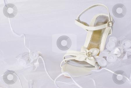Bridal sandals over veil stock photo, Bridal sandals over veil by Desislava Dimitrova