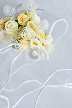 Wedding flowers over veil stock photo, Wedding flowers decorations over bridal veil by Desislava Dimitrova