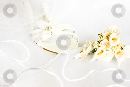 Wedding sandals and flowers over veil stock photo, Wedding sandals and flowers decoration over bridal veil by Desislava Dimitrova