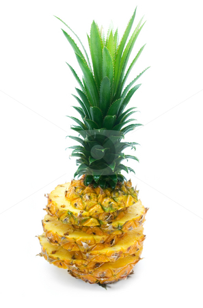 Pineapple stock photo, Ripe vivid pineapple sliced isolated over white background by Francesco Perre