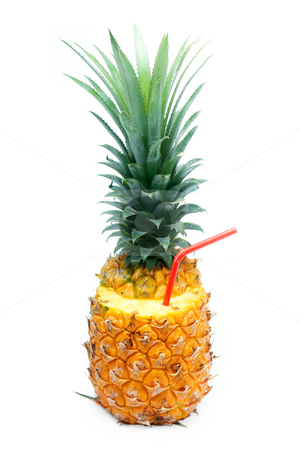 Pineapple drink stock photo, Ripe vivid pineapple with red straw isolated over white background by Francesco Perre