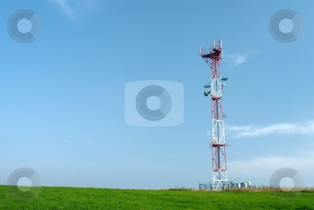 Telecom GSM tower stock photo, Telecom tower with a GSM reciever, transmitter by Juraj Kovacik