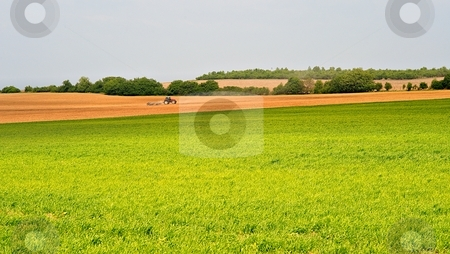 Tractor stock photo, Tractor working on farm fields in spring by Juraj Kovacik