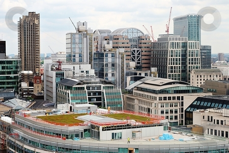Green roof stock photo, Green roof with skyscapers by Juraj Kovacik