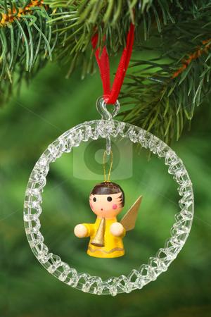 Chrismas angel stock photo, Dekorativer Weihnachtsschmuck an einem Tannenzweig auf gruenem Hintergrund by Birgit Reitz-Hofmann