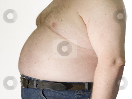 Fat man stock photo, Fat man with no shirt and his belly hanging over his pants. by Birgit Reitz-Hofmann