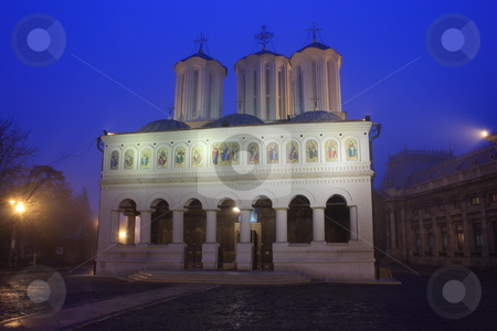 The Metropolitan Church stock photo, The Metropolitan Church in Bucharest - shot at the blue hour and covered with fog by Mihai Zaharia